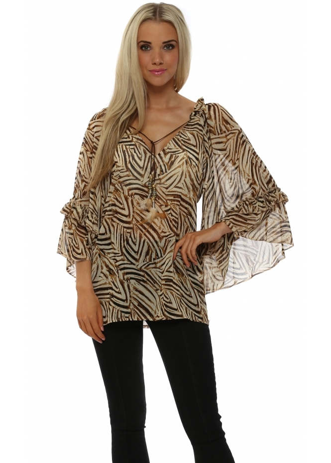 Just M Paris Safari Animal Print Ruffled Top