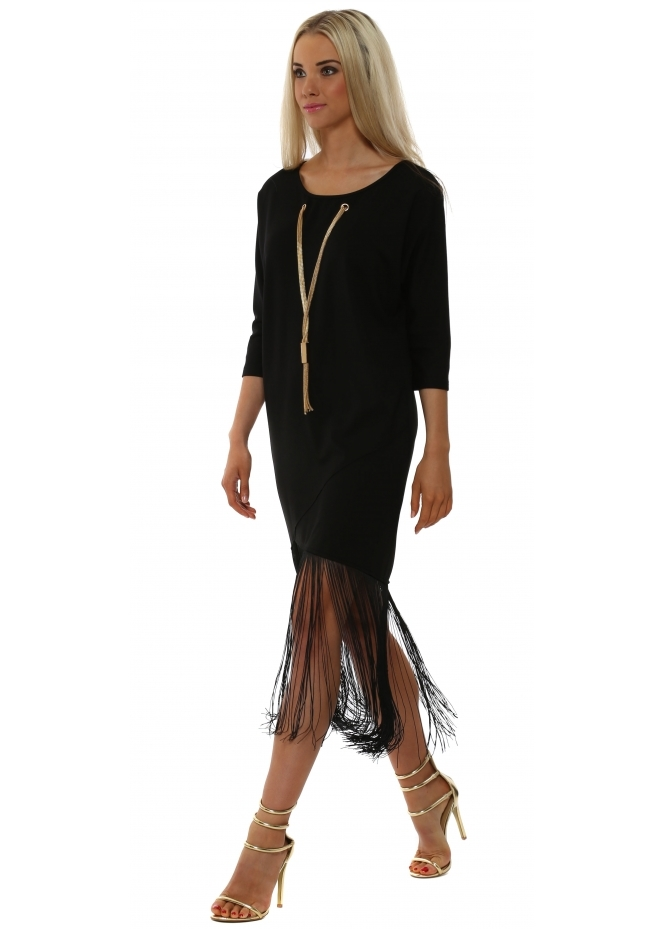 French Boutique Gold Necklace Black Tassel Dress
