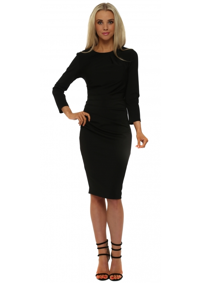 Rinascimento Black Ruched Long Sleeve Pencil Dress