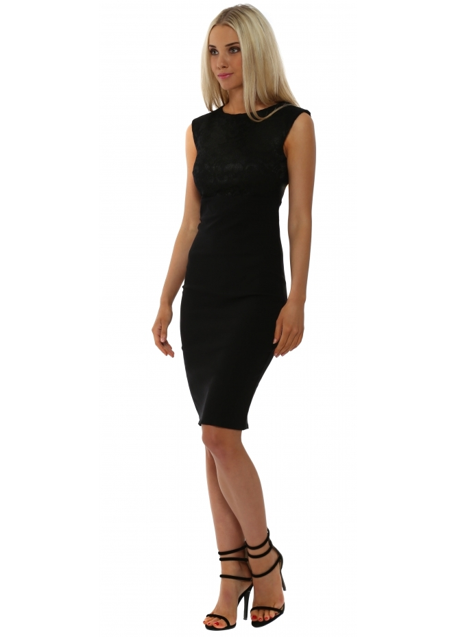 Goddess London Black Lace Bodice Sleeveless Pencil Dress