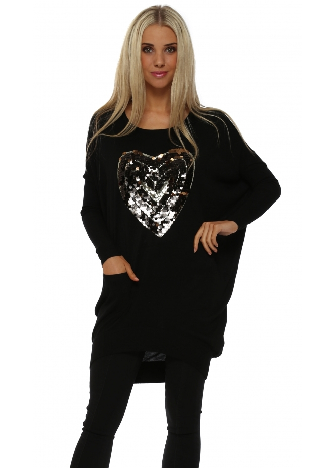 JS Millenium Black Sequinned Heart Oversized Jumper