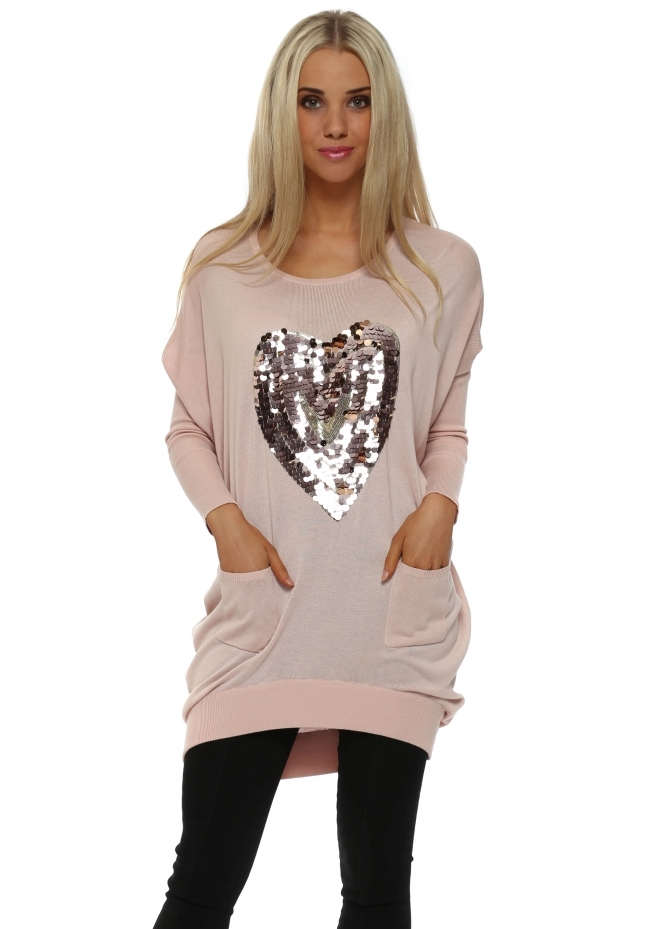 JS Millenium Baby Pink Sequinned Heart Oversized Jumper