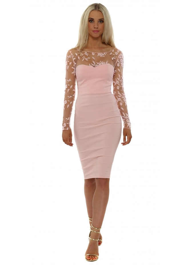 Goddess London Nude Pink Floral Mesh Detail Pencil Dress