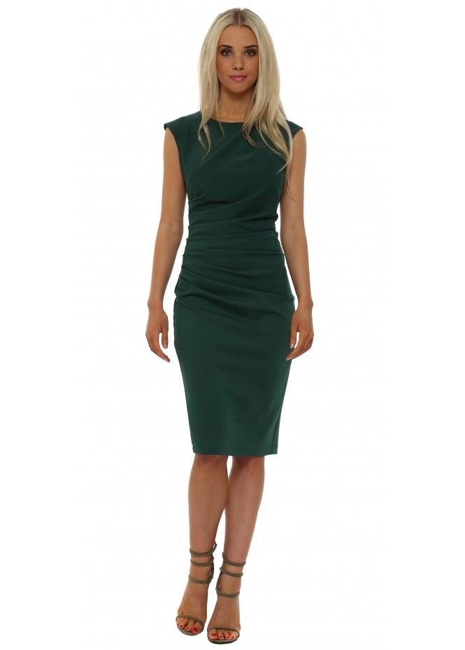 Rinascimento Green Ruched Sleeveless Pencil Dress