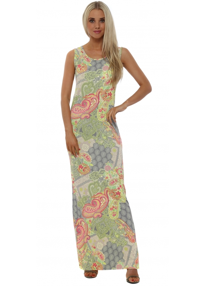 A Postcard From Brighton Izzy Ibiza Print Lemon Dream Split Maxi Dress