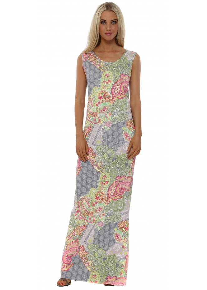 A Postcard From Brighton Izzy Ibiza Print Foam Split Maxi Dress