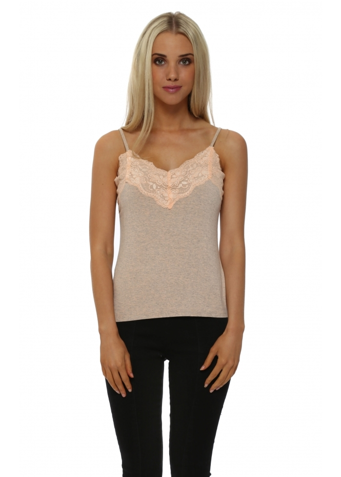 A Postcard From Brighton Ming Ming Orange Ice Melange Lace Camisole Vest