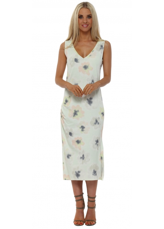 A Postcard From Brighton Paris Foam Pastel Posy Pleated Midi Dress