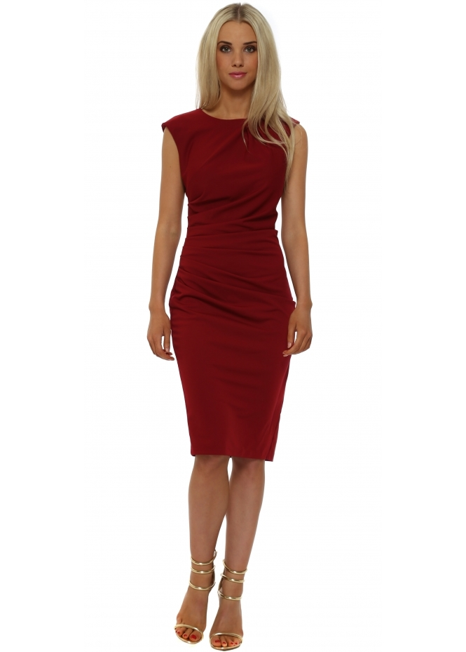 Rinascimento Bordeaux Ruched Sleevless Pencil Dress