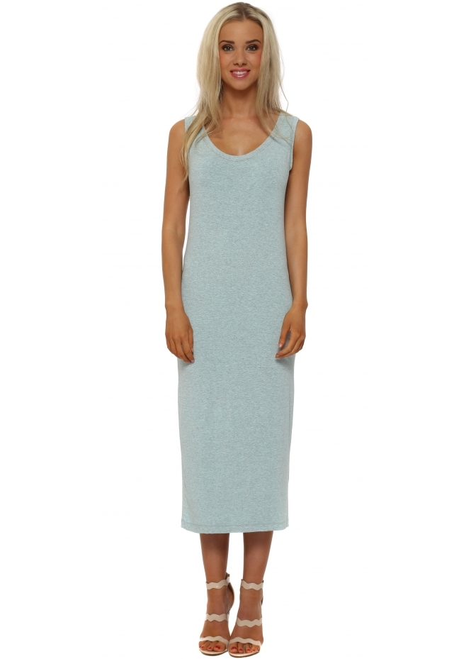 A Postcard From Brighton Nancy Aqua Melange Jersey Midi Dress