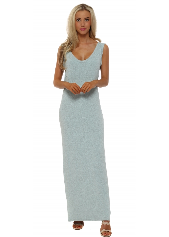 A Postcard From Brighton Aqua Melange Stretch Jersey Maxi Dress