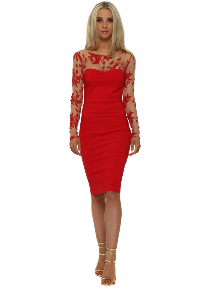 Goddess London Red Floral Mesh Detail Pencil Dress