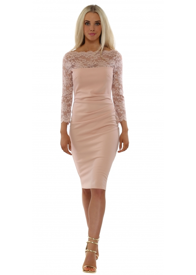 Goddess London Scalloped Lace Nude Pencil Dress