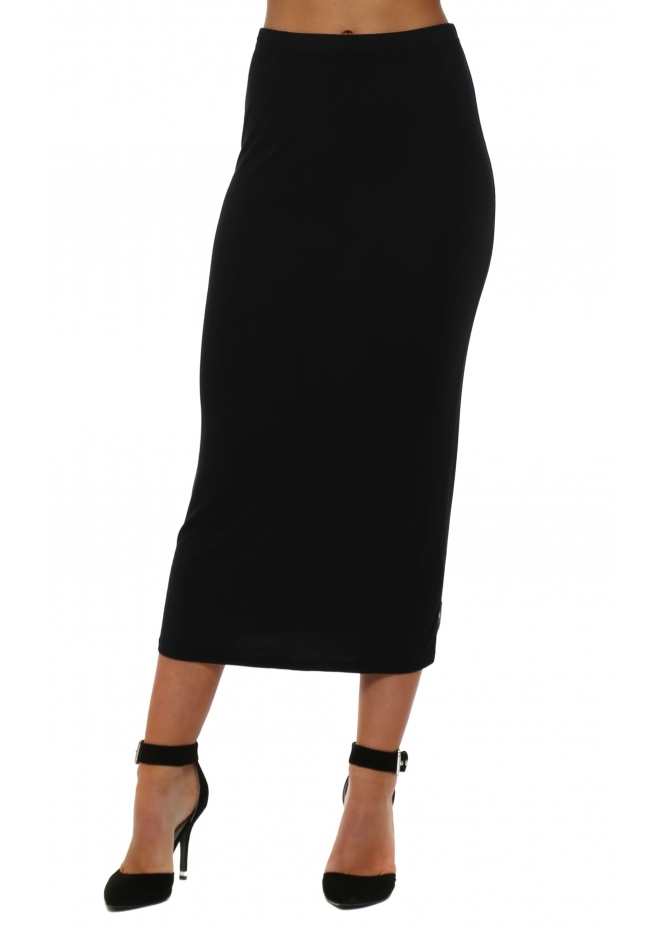 A Postcard From Brighton Petula Plain Black Jersey Column Midi Skirt