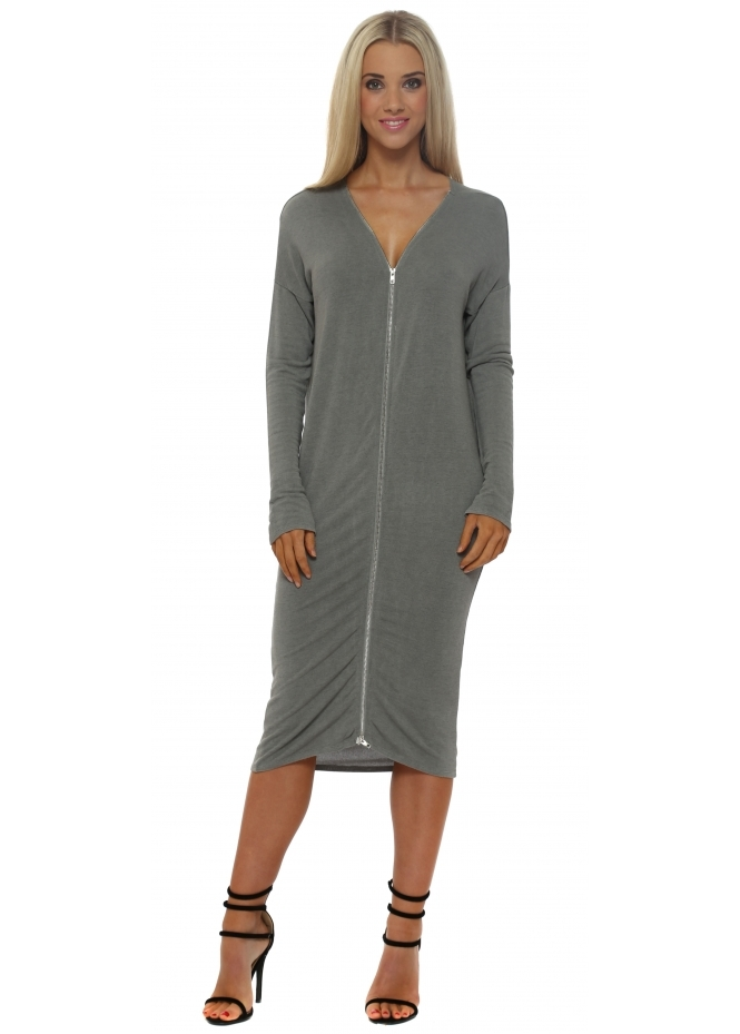 A Postcard From Brighton Eddie Smokey Double Zip Long Sleeve Dress