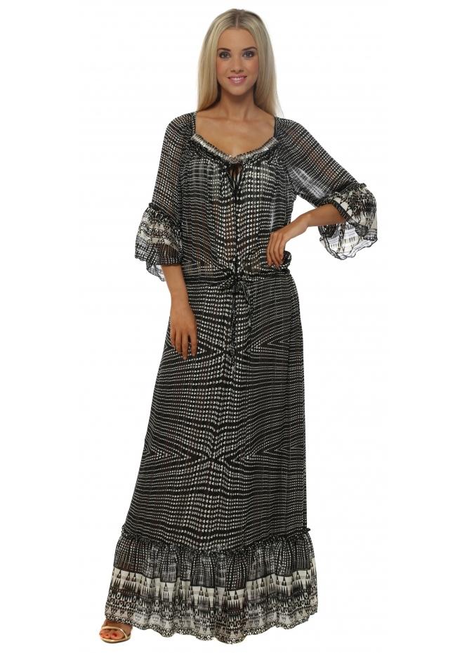 My Story Monochrome Print Floaty Chiffon Maxi Dress