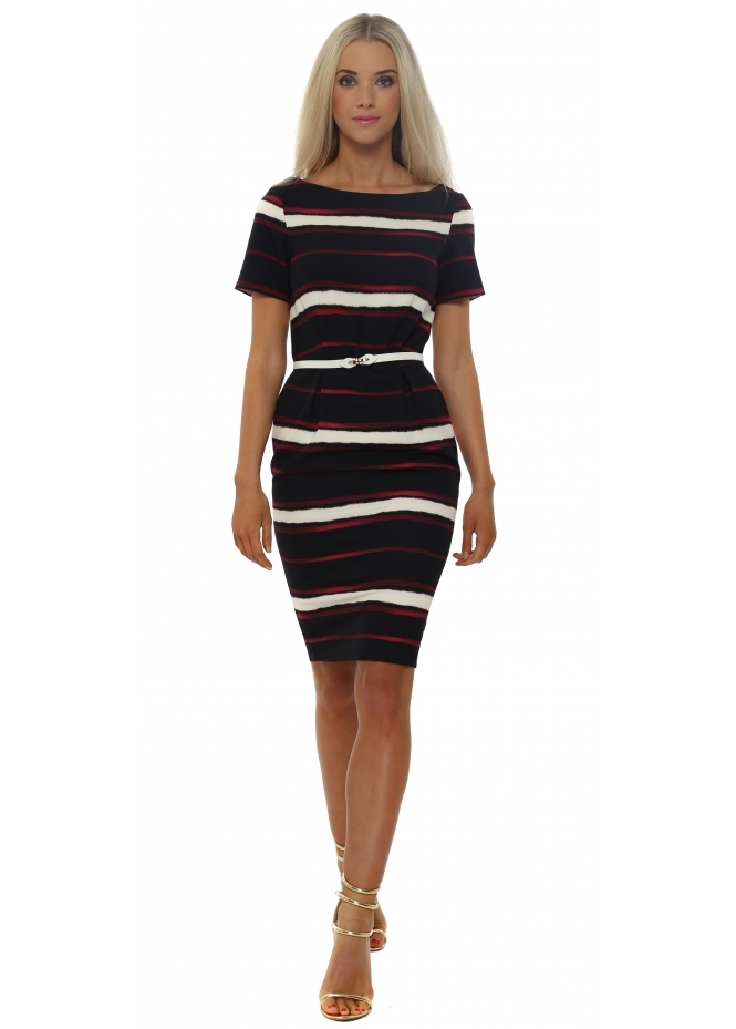Paper Dolls Navy Blue Multi Stripe Pencil Dress