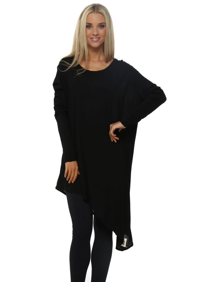 A Postcard From Brighton Sophie Long Sleeve Black Asymmetric Tunic Top