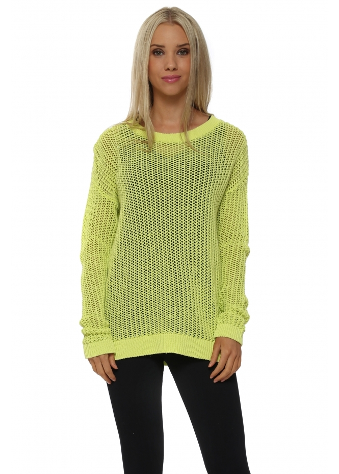 A Postcard From Brighton Polly Open Weave Citrus Sweater