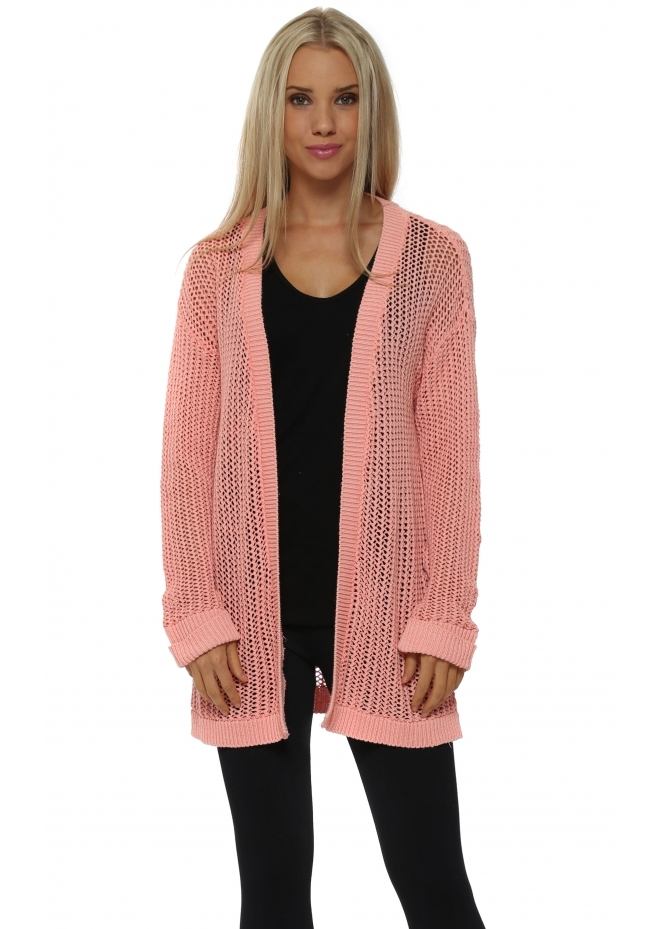 A Postcard From Brighton Poppet Coral Chunky Knit Cardigan