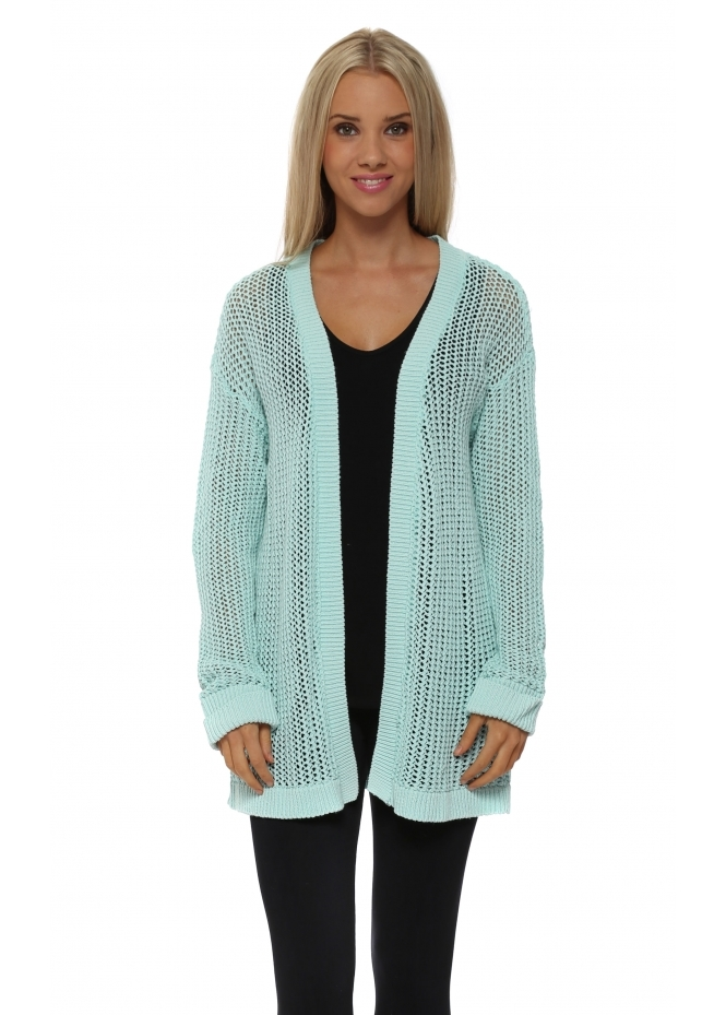 A Postcard From Brighton Poppet Aqua Chunky Knit Cardigan