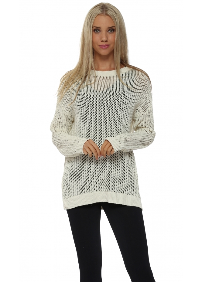 A Postcard From Brighton Polly Open Weave Foam Sweater