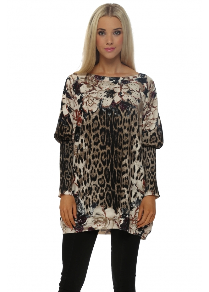 Cristina Floral Crystal Embellished Brown Leopard Jumper