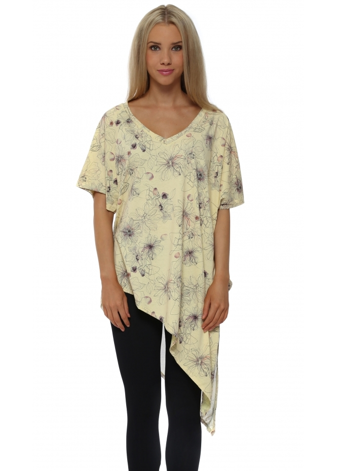 A Postcard From Brighton Fern Lemon Dream Sketchy Flower Asymmetric Top
