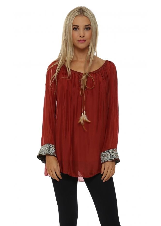 J&L Paris Red Silk Embroidered Cuff Tunic Top