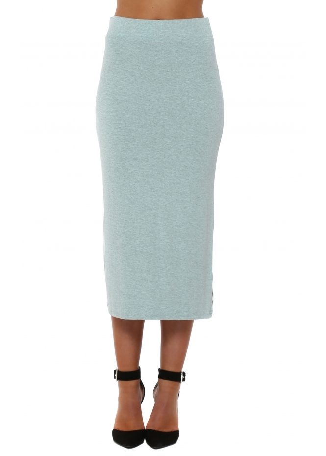 A Postcard From Brighton Mindy Aqua Melange Midi Skirt