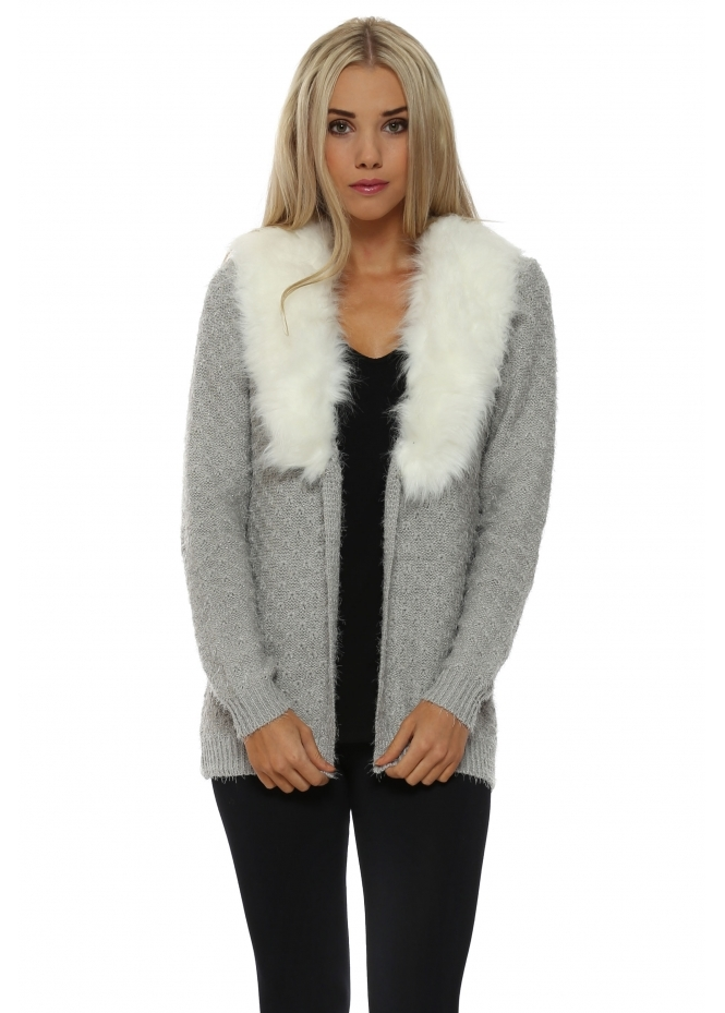 JS Millenium Grey Cosy Knit Faux Fur Collar Cardigan