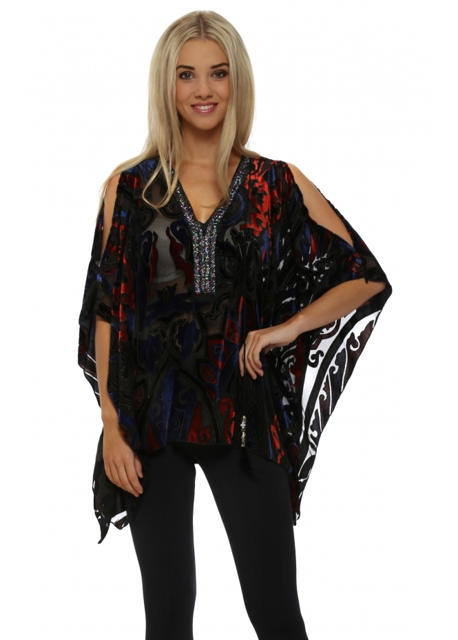 My Story Blue & Red Cold Shoulder Beaded Kaftan Top