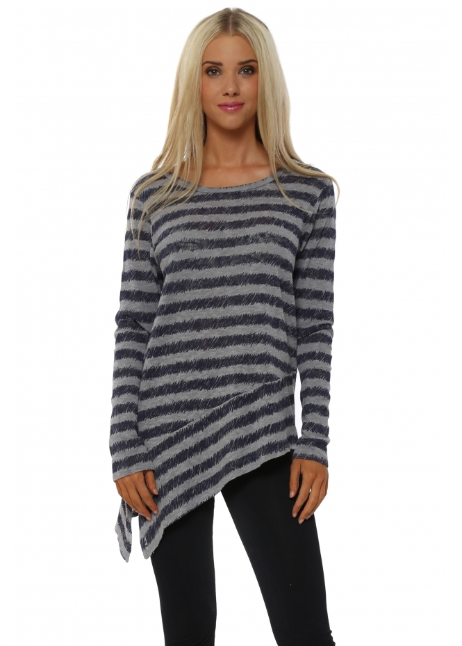 A Postcard From Brighton Rosalie Pearl Sketchy Stripe Asymmetric Top