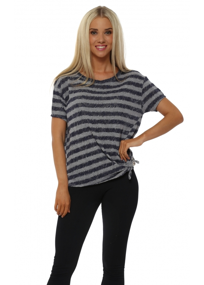 A Postcard From Brighton Roxanne Pearl Sketchy Stripe Tie Waist Top