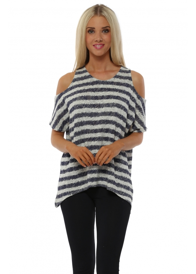 A Postcard From Brighton Raquel Foam Sketchy Stripe Cold Shoulder Top