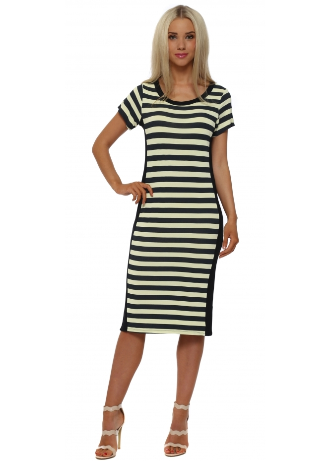 A Postcard From Brighton Sally Lemon Dream Sea Stripe Midi Dress