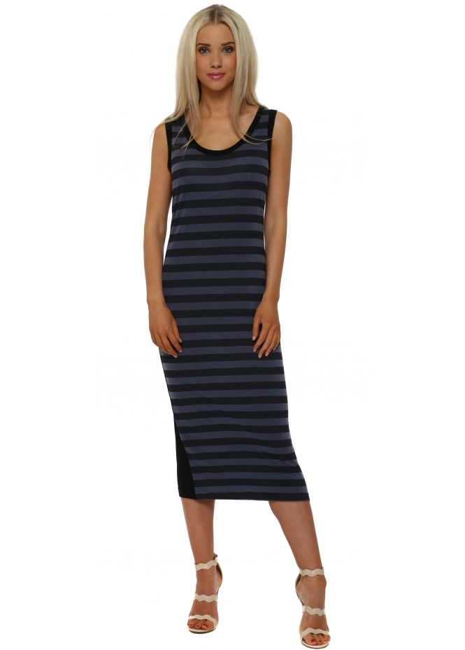 A Postcard From Brighton Sasha Indigo Sea Stripe Sleeveless Midi Dress