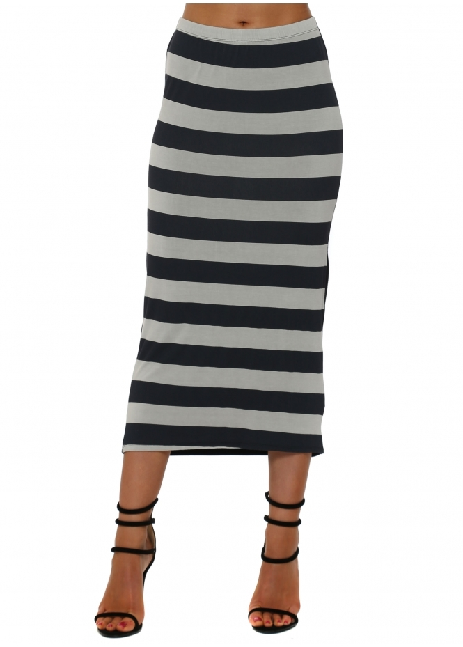 A Postcard From Brighton Sandy Sea Stripe Midi Skirt In Cloud