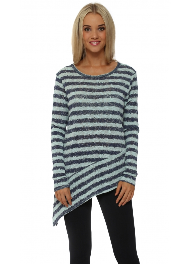 A Postcard From Brighton Rosalie Aqua Sketchy Stripe Asymmetric Top