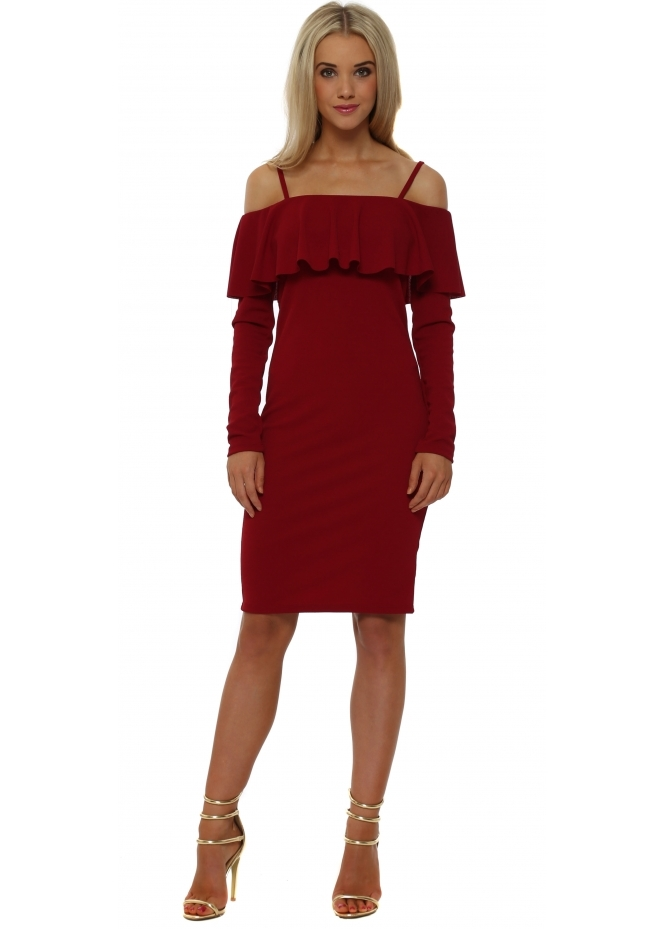Rinascimento Red Frill Bardot Pencil Dress