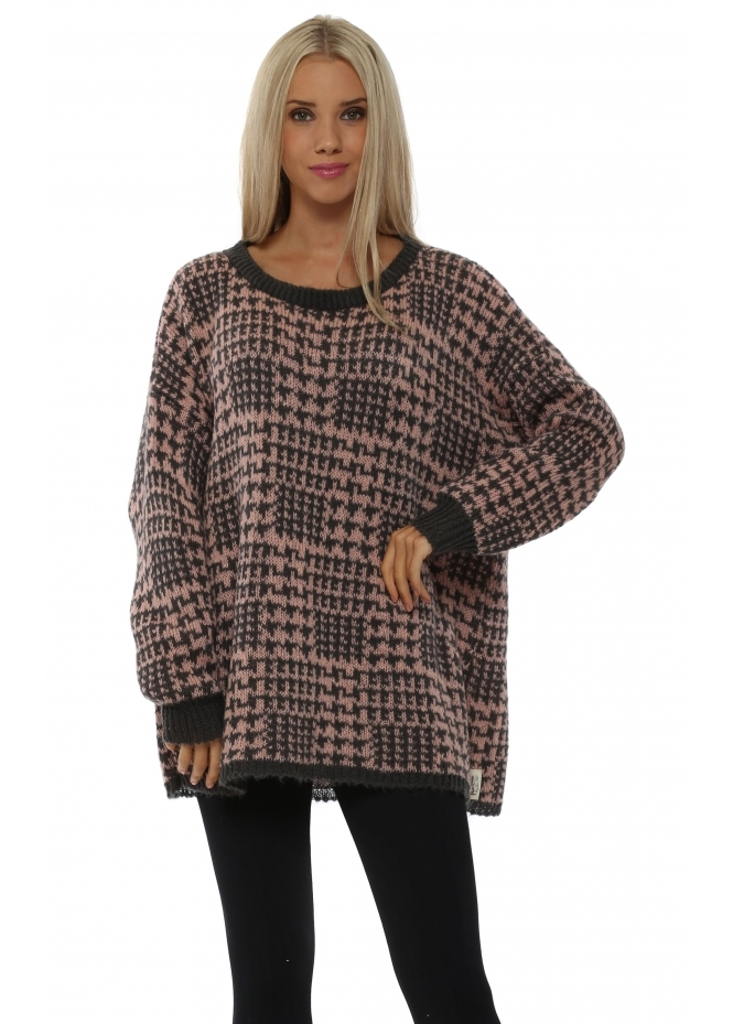 A Postcard From Brighton Checkie Blush Thick Knit Jumper