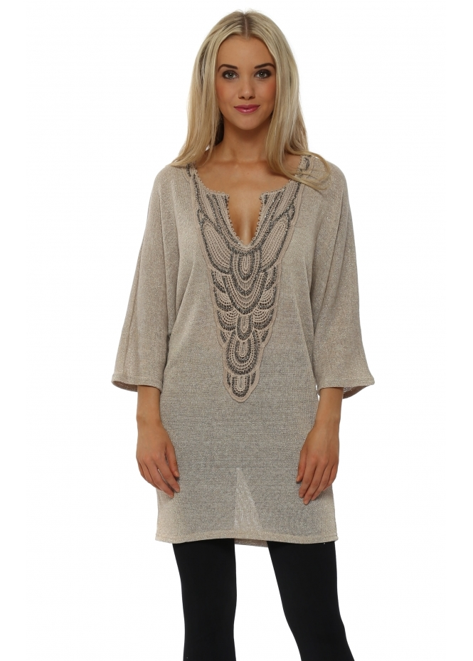Laurie & Joe Gold Lurex Knitted Tunic Jumper