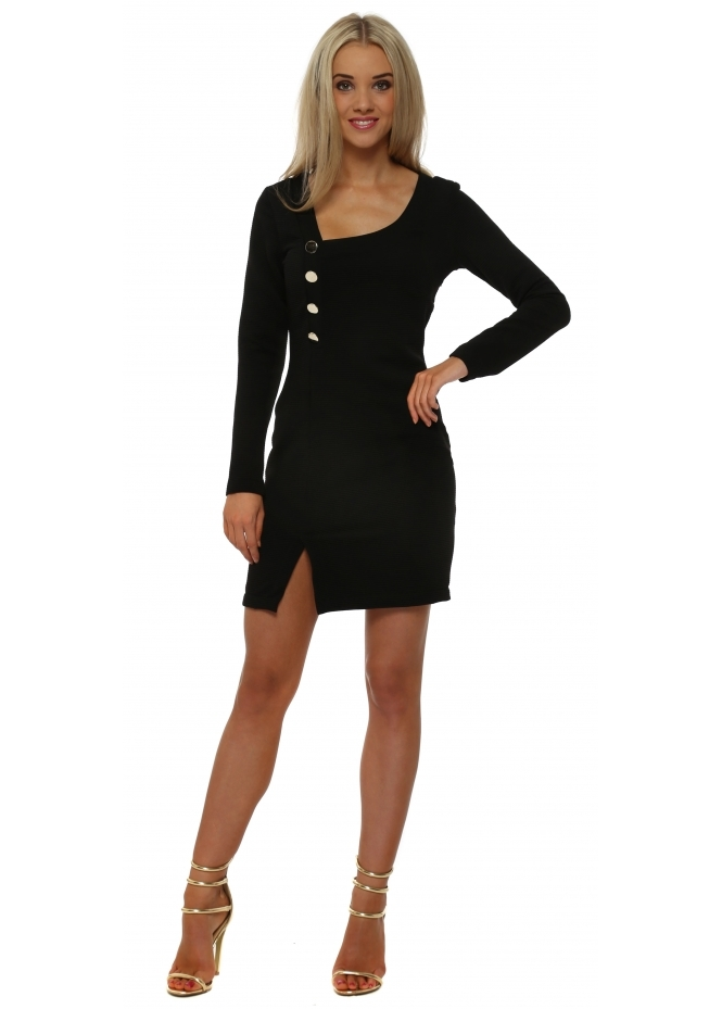 Rinascimento Black Ribbed Gold Button Mini Dress