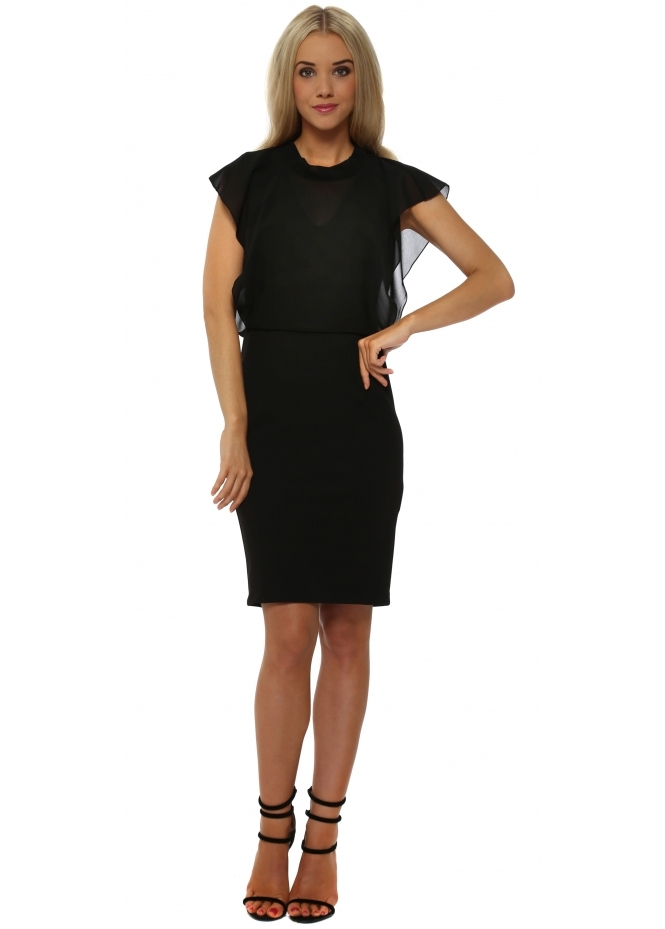 Rinascimento Black Chic Chiffon Overlay Pencil Dress