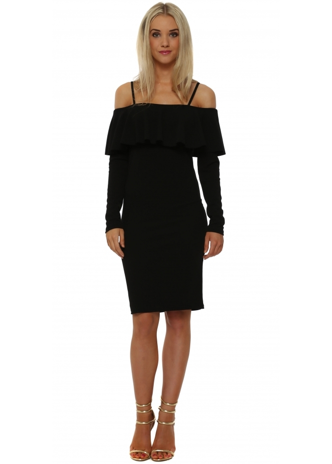 Rinascimento Black Frill Bardot Pencil Dress