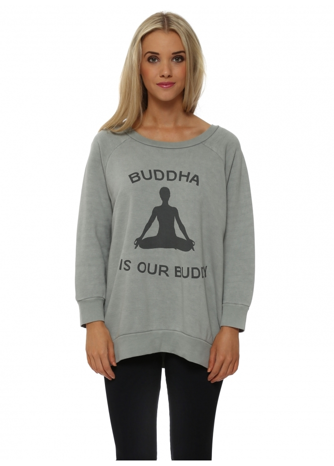 A Postcard From Brighton Yoga Buddha Buddy Smokey Sweater