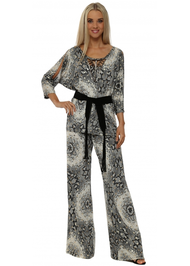 My Story Grey & Gold Snake Print Palazzo Trousers & Top