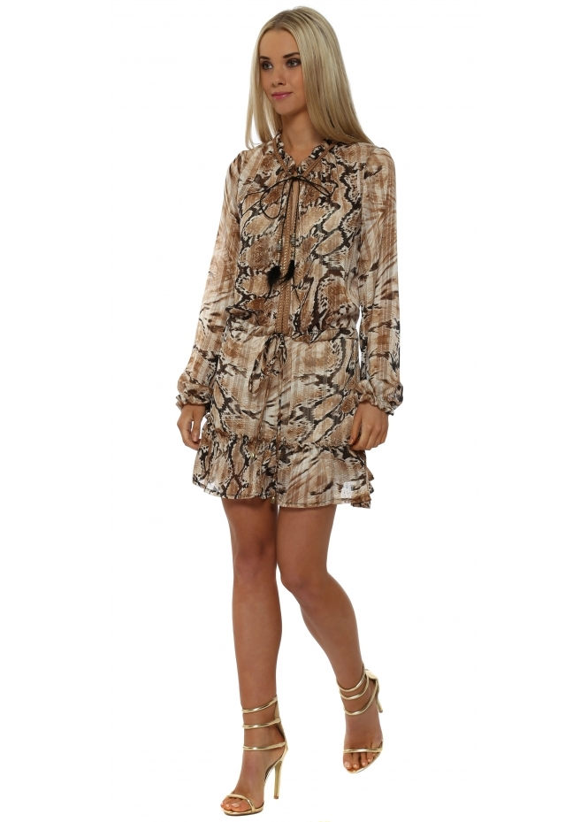 Just M Paris Brown Snakeskin Print Chiffon Ruffle Mini Dress