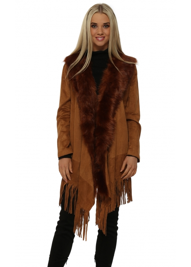 JayLey Tan Suedette Fringe Jacket With Faux Fur Collar