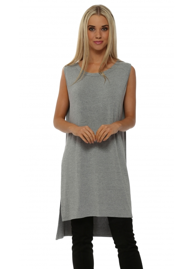 A Postcard From Brighton Sleeveless Flavia Cloud Melange Split Sides Top